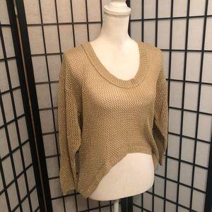 Bisou Bisou M Tan Sparkle NWT 3 way Sweater Shawl